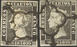 º1, 1A. 1850. 6 Cuartos Negro, Dos Sellos (Planchas I Y II) (grandes Márgenes Y Matasellos Limpios). MAGNIFICOS. - Unclassified
