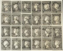 º1(24). 1850. Reconstrucción Completa Del 6 Cuartos Negro, Incluyendo Los Veinticuatro Tipos De La Plancha I E Inutiliza - Unclassified
