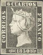 *1A. 1850. 6 Cuartos Negro (II-23). MAGNIFICO. Cert. COMEX. - Unclassified