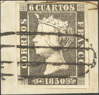 Fragmento 1A. 1850. 6 Cuartos Negro, Sobre Fragmento. Matasello PARRILLA DE MADRID. MAGNIFICO. - Unclassified
