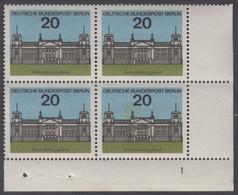 !a! BERLIN 1964 Mi. 236 MNH BLOCK From Lower Right Corner W/ Formnumber -Capitols Of Germany: Berlin - Ongebruikt