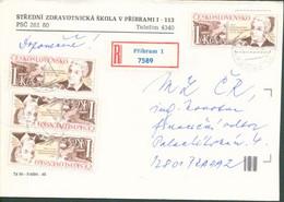Tschechoslowakei # 3028 (4x) Cyril Bouda Maler Tag Der Briefmarke Portorichtiger R-Brief - Cartas