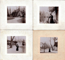 4 Grands Tirages Photos Albuminés Cartonnées Femme En Visite Au Château De Versailles Dans Le Hameau De La Reine 1890/00 - Old (before 1900)
