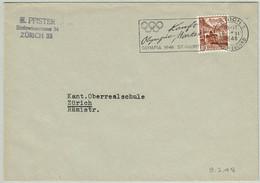 Schweiz / Helvetia 1948, Brief Zürich, Olympische Winterspiele St.Moritz - Inverno1948: St-Moritz
