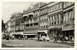 Nederland, ZWOLLE, Grote Markt, Hotel Peters, Auto Handkar (1950s) Ansichtkaart - Zwolle