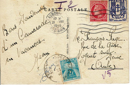 1946 - CP  De Strasbourg Pour Nogent Sur Seine - Tp Mazelin N°676 + Chaines Brisées N° 673 - Taxe Gerbes N° 82 - Postage Due Covers
