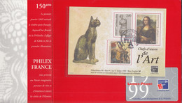 Frankreich  Block 20,  Gestempelt, PHILEXFRANCE '99, Paris, Mona Lisa, Venus Von Milo, 1999, In Präsentationsfolder - Used
