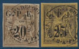 France Colonies Guadeloupe N°1 & 2, 20c/30c &  25c/35c Oblitérés De Pointe à Pitre TTB - Used Stamps