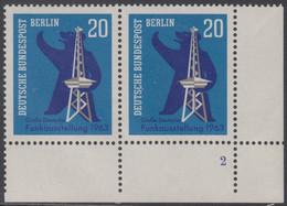 !a! BERLIN 1963 Mi. 232 MNH Horiz.PAIR From Lower Right Corner W/ Formnumber -German Radio Show - Ongebruikt