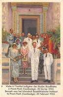 """11268"""" REINE ASTRID-TROISIÈME SÉRIE-N° 9-VISITE A L'INSTITUT INDIGENE DES ETUDES BAUDHISTES A PNOM-PENH-20 FEVRIER 1932"""" - Côte D'Or"""