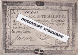 PERIODE REVOLUTIONNAIRE - CAISSE PATRIOTIQUE DE MARSEILLE - MANDAT DE TROIS LIVRES A ECHANGER CONTRE DES ASSIGNATS - Assignats & Mandats Territoriaux