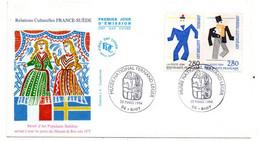 1994--FDC-- Relations Culturelles FRANCE-SUEDE...tp ( 2 Valeurs ) --cachet  BIOT - 06 - 1990-1999