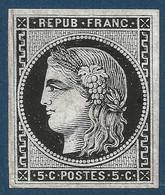 France Bordeaux N°42, 5c Report 2 (case 14) Essai En Noir Sur Papier Glaçé Pas Si Courant TTB - 1870 Bordeaux Printing