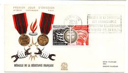 1974 -- FDC-- Médaille De La Résistance Française----cachet  PARIS - 116 - 1970-1979