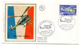 """1975 --FDC Soie - Hélicoptère """"Gazelle"""" -- Tp - Cachet  LE BOURGET - 93 - 1970-1979"""