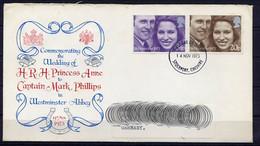 Lil3P36 GRANDE BRETAGNE Stockport FDC YvT 700/701 Royal Wedding 14/11/1973 - 1971-1980 Dezimalausgaben