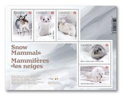 2021 Canada Fauna Snow Mammals Ermine, Hare, Arctic Fox, Peary Caribou And Lemming Mini Sheet MNH - Nuevos