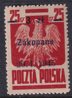 POLAND 1945 Zakopane Fi 357 Mint Hinged - Nuovi
