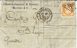 1874- Lettre Affr. N°38 40 C De CHARLEVILLE ( Ardennes )  Cad T17 Oblit. G C 868 - 1849-1876: Klassieke Periode