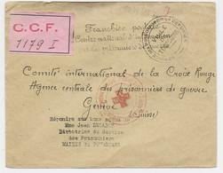 LETTRE FRANCHISE POSTALE PRISONNIERS GUERRE REFUGIES TOURCOING NORD + ETIQUETTE ROSE CROIX ROUGE + CENSUE NAZI - WW II