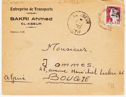 Algerie , De El Kseur( Setif ) En 1963, Surcharge EA    TB - Algeria (1962-...)