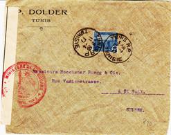 France Tunisie , De Tunis Rp En 1917 Daguin  Sur Doc Censurée Pour La Suisse ( Saint Gall ) TB - Storia Postale
