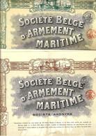1919 BELGIQUE MARINE BELGE Anvers  2 TITRES Sté Belge D'Armement Maritime  Action De Divid. +  Action  500 F  B.E.SCANS - Ferrocarril & Tranvías