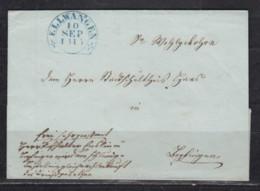 Württemberg Blauer Steigbügel-o ELLWANGEN/10.SEP 1845 Auf Faltbriefhülle - Wurttemberg