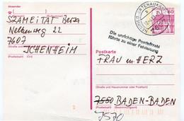 """1988 NEURDEIN Ortenaukreis 7607 - Karte Schloss Reidt - Special Stamp """" FEHL LEITUNG  !!!!!!!!!!! """" - Post Vertraging - Postales - Usados"""