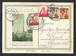 EGYPT 1955 CARTE POSTALE VUE PRES DES BARRAGES DU DELTA ENTIERE POSTALE N°B02 - Unclassified