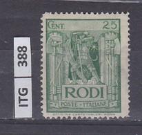 ITALIA      1929 ITALIA RODI 25 C Nuovo - Zonder Classificatie