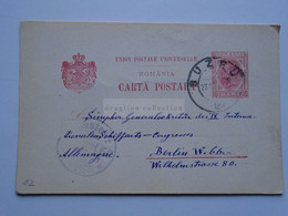 D176939  ROMANIA  Postal Stationery  10  Bani  Cancel 1903  BUZEU  Grigore G. Poienaru -to Berlin  Schiffarts Congress - Cartas