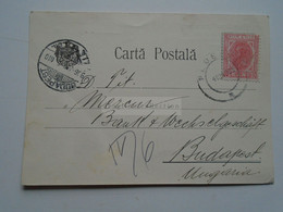 D176943 ROMANIA   Carta Postala   10  Bani  Cancel 1906 Ploiesti   Telejean Works - B.I. Hornstone - To Budapest Mecur B - Cartas