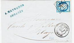 France, De Ambares  Type 17 En 1875 GC 76 Sur N°60  Ind 6 TB - 1849-1876: Periodo Classico