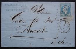 Aigues-Vives (Gard) 1867 Vidier & Domergue Cachet + étiquette Au Dos, Plusieurs Cachets Dont Convoyeurs Pour Bourdelin - 1849-1876: Classic Period