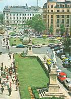 Roumanie Bucarest Bucaresti Place De L' Université + Timbre Voiture Auto Tram Tramway Dans Les Années 70 - Romania