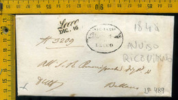 Piego Con Testo Lecco Per Bellano Con Avviso Di Ricevimento Ricevuta Di Ritorno - 1. ...-1850 Prephilately