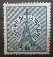 France Vignette SOUVENIR DE LA TOUR EIFFEL PARIS,  Bleu Gris , Obl En Coin Mais Gomme ** MNH,  TB - Tourisme (Vignettes)