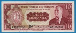 PARAGUAY  10 Guaraníes L. 25.03.1952 (1963)  # A11852550 P# 196a  General Eugenio A. Garay - Paraguay