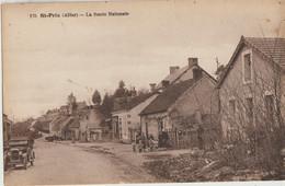 Saint-Prix  03  La Route Nationale Animée-Epicerie-Tabac Et Voiture - Otros Municipios