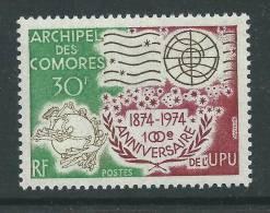 Comores N° 96 XX  Centenaire De L'U.P.U. Sans Charnière, TB - Unused Stamps