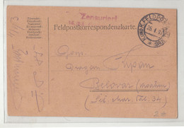WWI Feldpost, Feldpostkarte Censored Posted 1917 FP85 To Bjelovar B210220 - Croatia