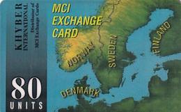SWEDEN - Scandinavian Map, MCI Exchange Card 80 Units, Used - Noruega