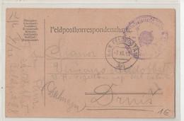 WWI Feldpost, K.u.k. Infanterieregiment Nr. 22 Graf Von Lacy Posted 1917 FP304 To Drniš B210220 - Croatia