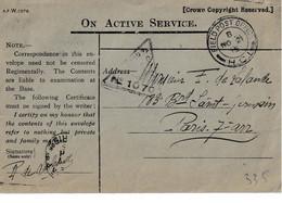"GROOT-BRITTANIË : MIL POST Bf ""ON ACTIVE SERVICE "" ""FIELD POST OFFICE / B NO 21 15 / H.C.I."" Met Censuur (GB) Naar PARIS - Other"