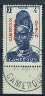 Cameroun Français, 4c Surchargé CAMEROUN FRANCAIS 27.8.40, 1940, Obl, TB Superbe Cachet De Yaoundé, Bord De Feuille - Oblitérés