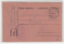 WWI Feldpost, Kr. Ug. Varažd. 10. Dom. Hus. Pukovnija Bojna Dopisnica Levelezőlap Posted 1917 FP634 To Senj B210220 - Croatia