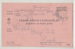 WWI Feldpost, K.u.k. Infanterieregiment Von Steinsberg Nr. 100, 2. Feldbataillon Posted 1915 FP69 To Zagreb B210220 - Croatia