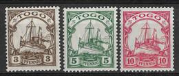 Togo, German Colony 1909-1918, 3, 5 & 10 Pf. Mi 20-22 /Sc 20-22. MNH - Colonia: Togo