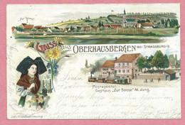 67 - GRUSS Aus OBERHAUSBERGEN - Litho Couleur GABELMANN - Gasthaus Zur Sonne - Tram - Tramway - Strassenbahn - 3 Scans - Andere Gemeenten